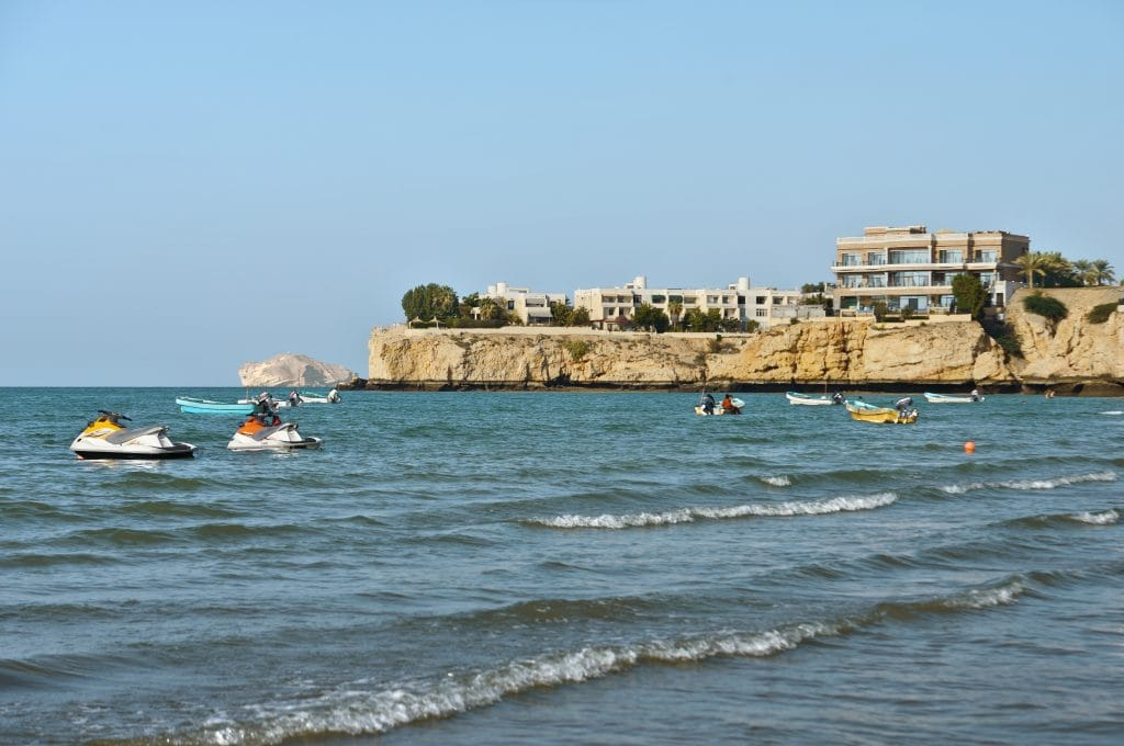 Beaches Sea by the buildings Qurum beach Muscat Oman