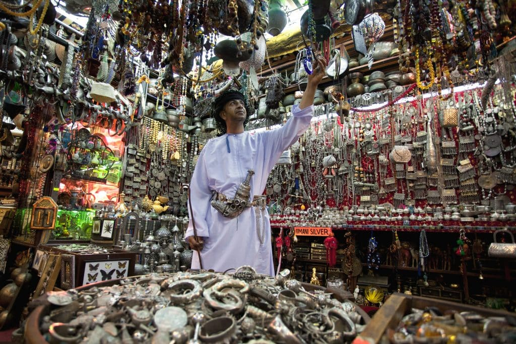 Muscat A Jewellery Seller in the Muttrah Souq Old Muscat